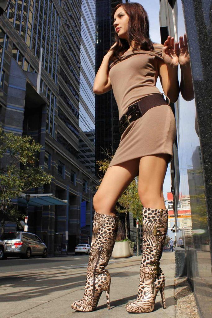 Over the Knee Boots with Leopard Print