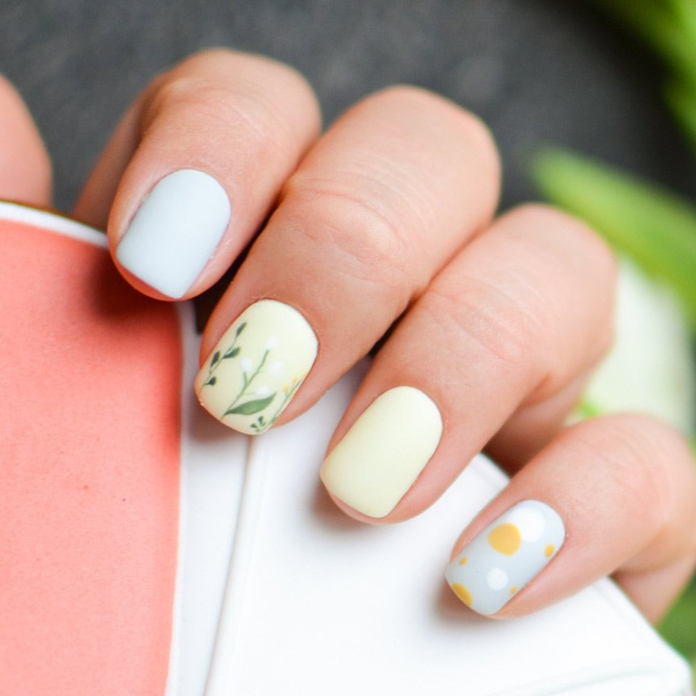 Matte Pastel Nails with Flowral Accented Nail