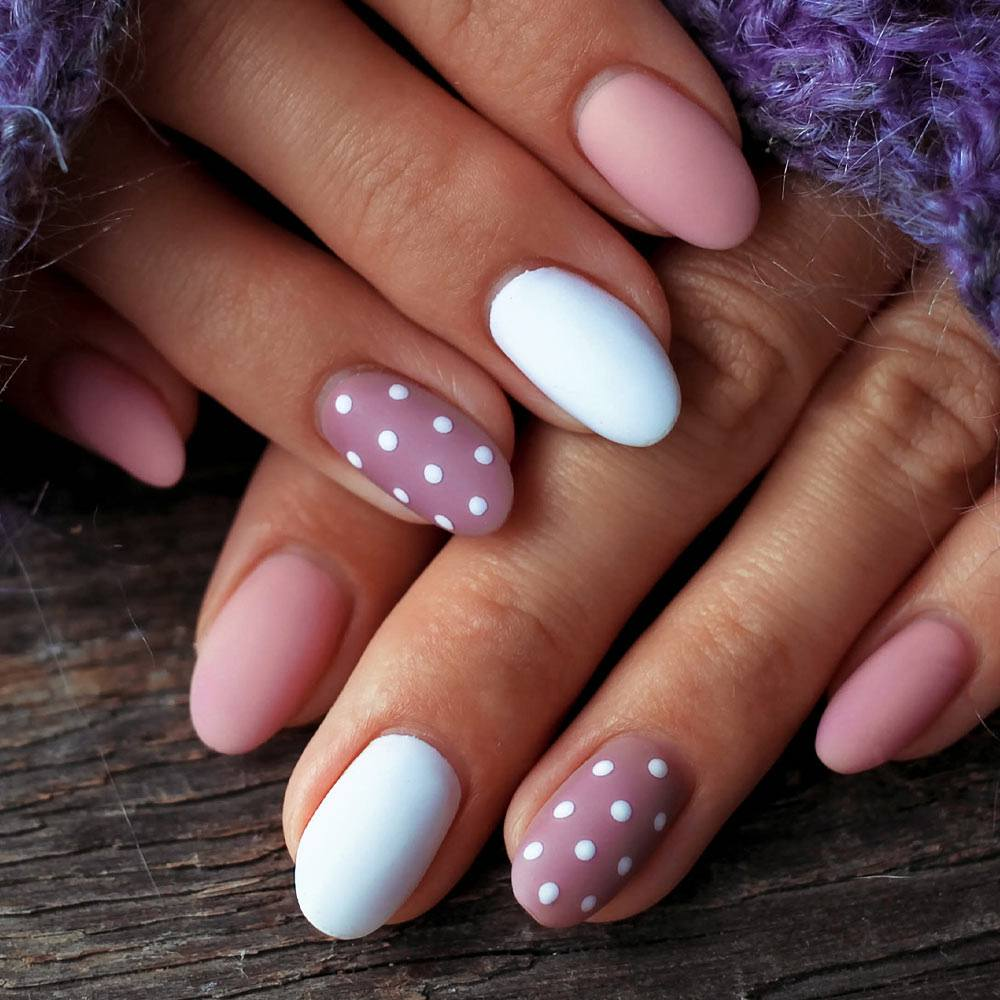 Matte Polka Dots Nails