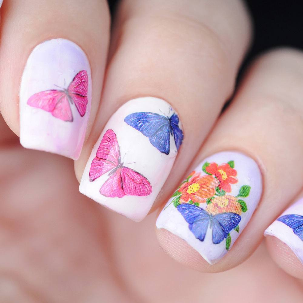 Spring Nails with Butterflies