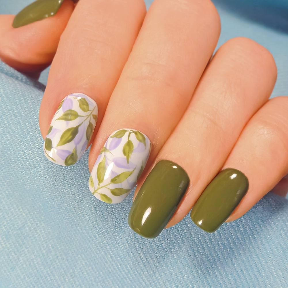 Spring Nails with Leaves