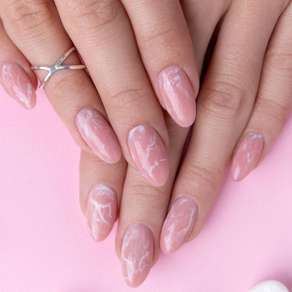 Pink Water Marble Nails