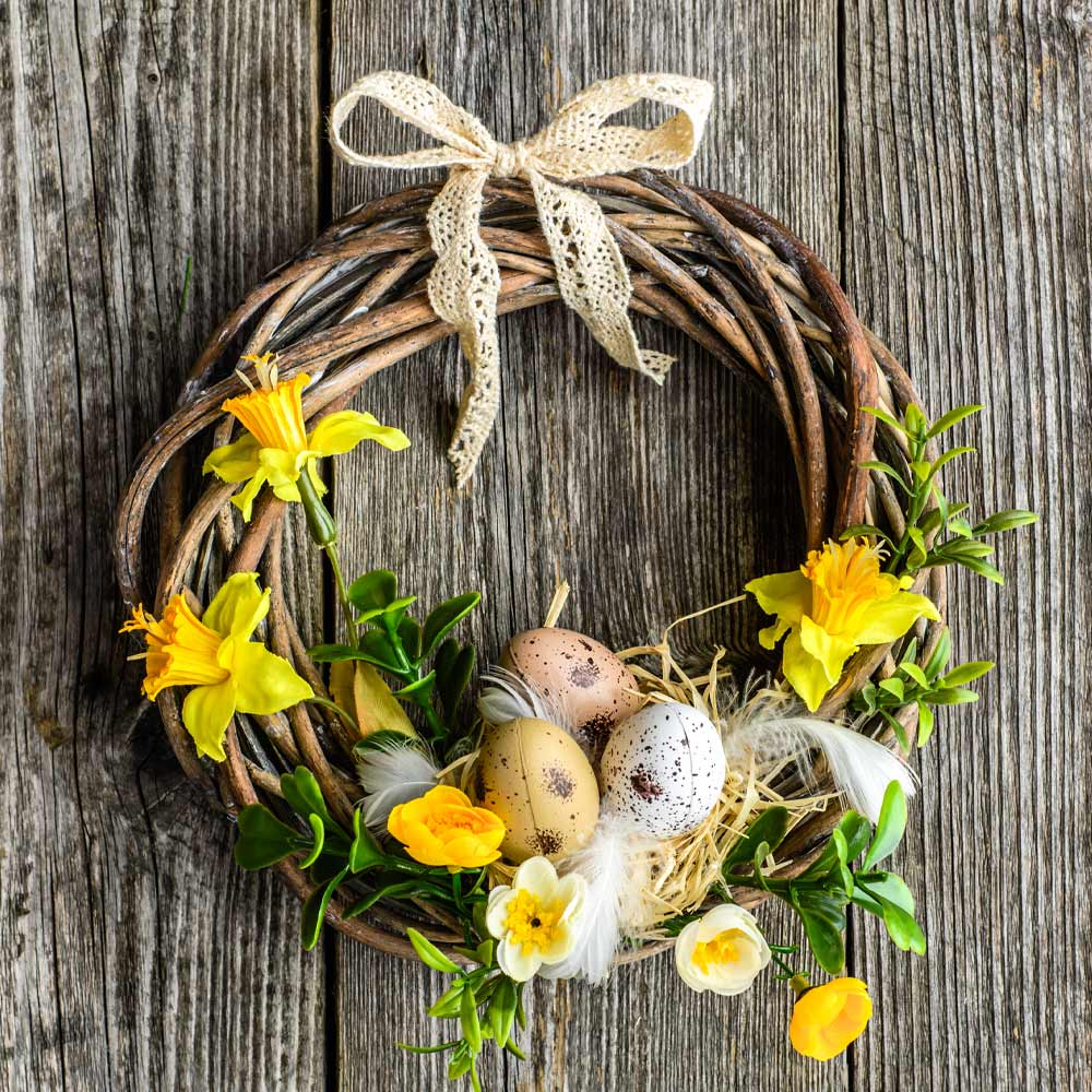 Spring Wreath with Yellow Flowers and Eggs