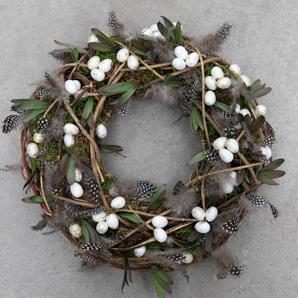 Door Wreath with Eggs and Feathers