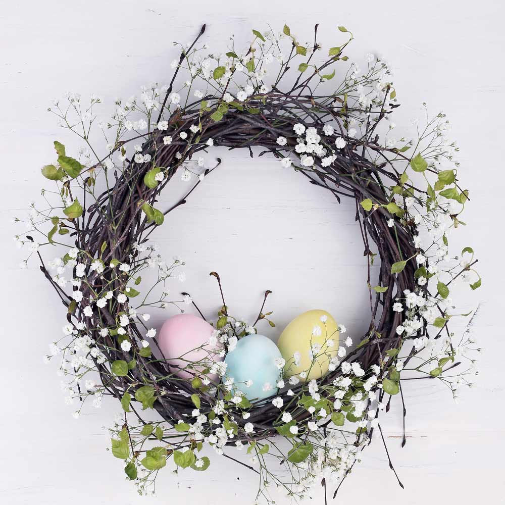 Spring Wreath with Eggs and Flowers