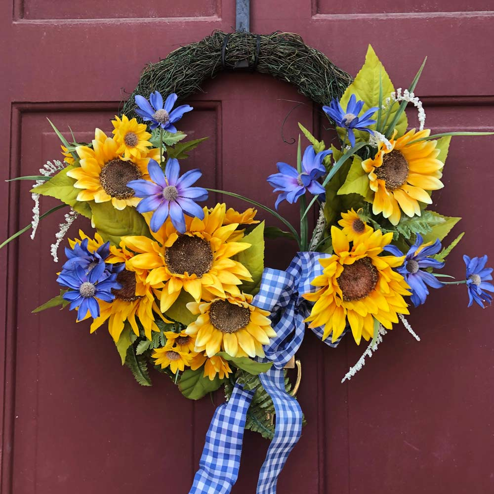 Spring Wreath with Sunflowers