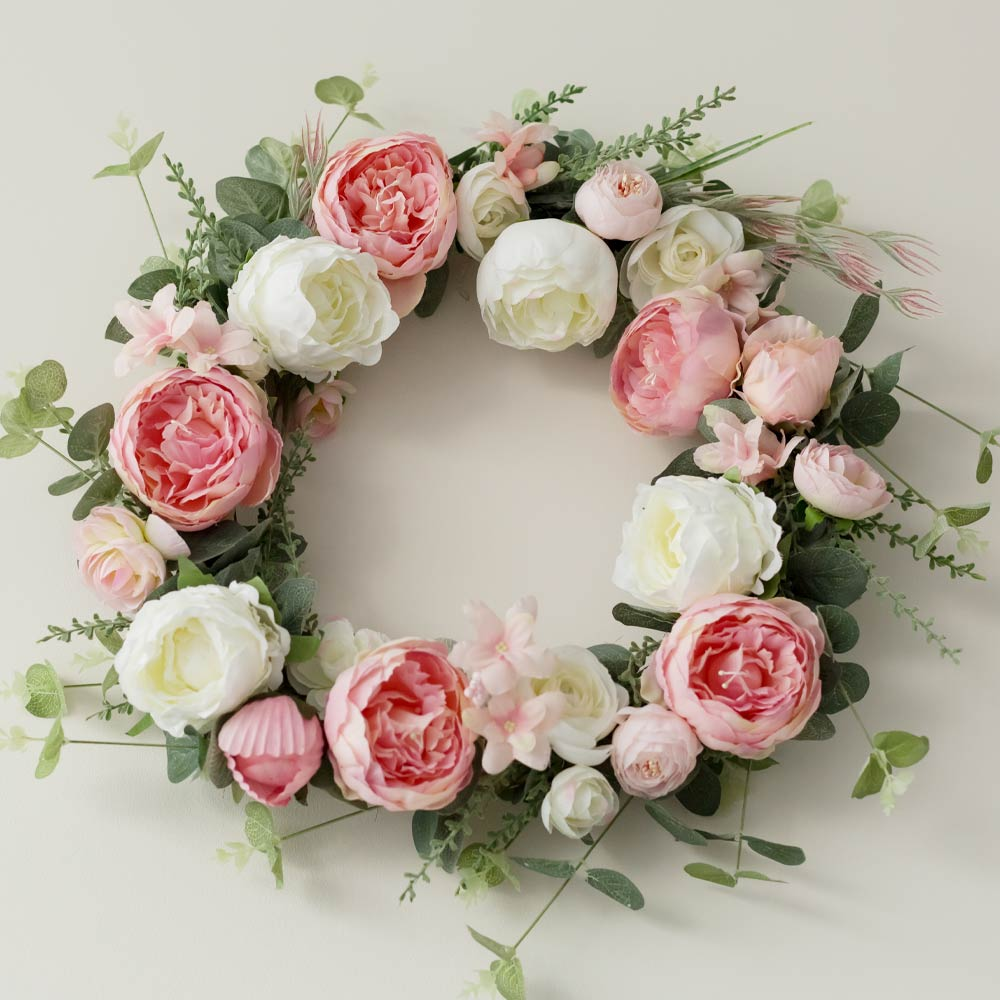 Spring Wreath with White and Pink Roses