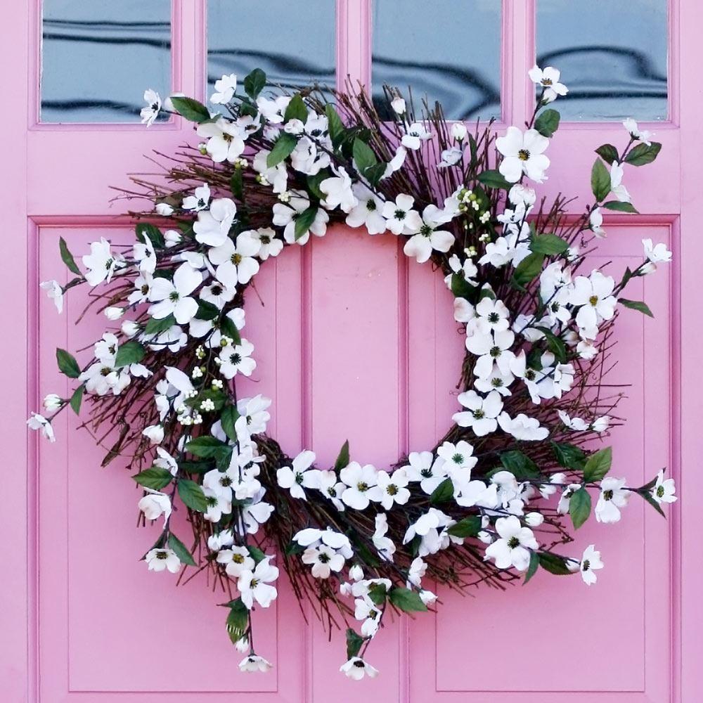 Door Wreath with White Flowers
