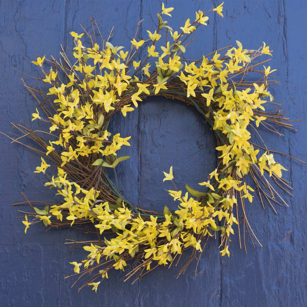 Spring Wreath with Yellow Flowers