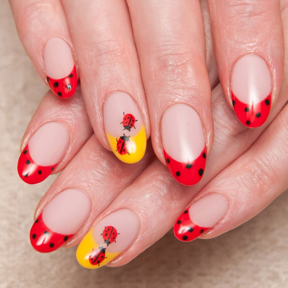 Spring Nails with Ladybugs