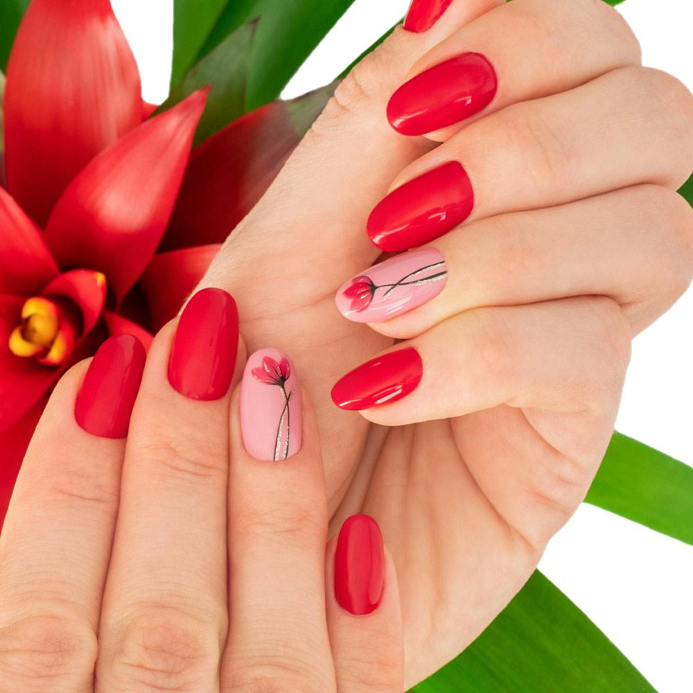 Bright Red Nails with Flowers