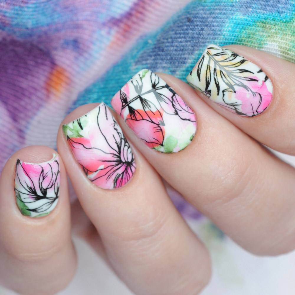 Watercolor Floral Spring Nails