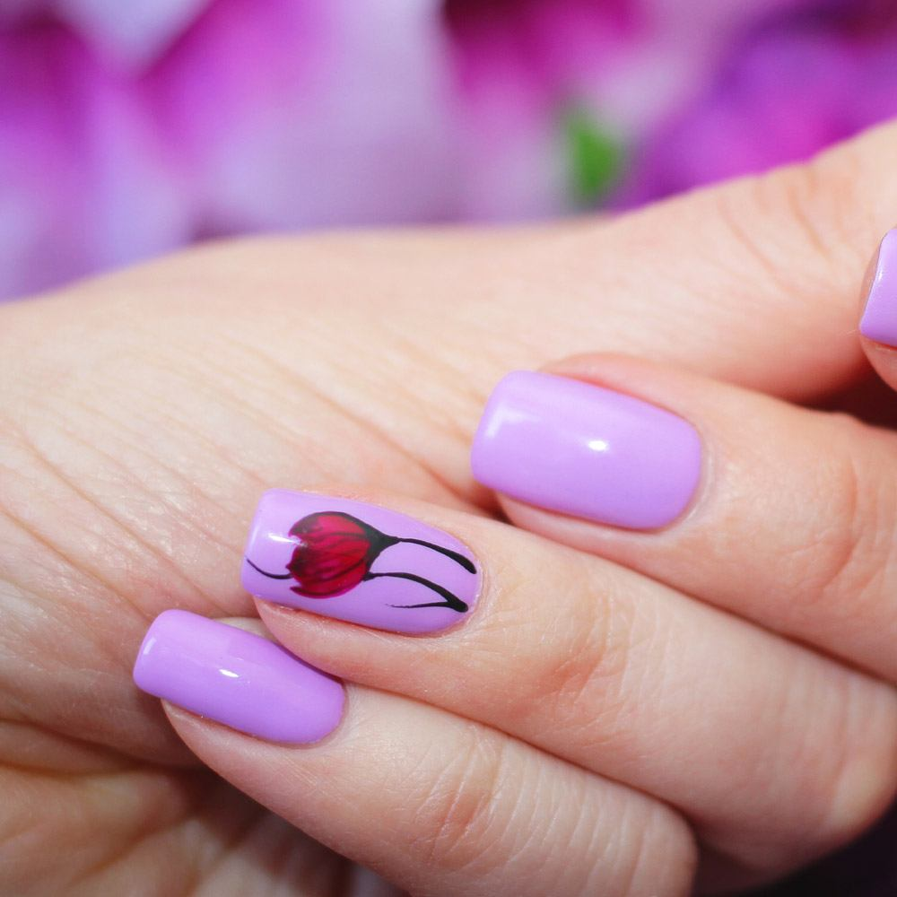 Spring Nails Design with Accent Floral Nail