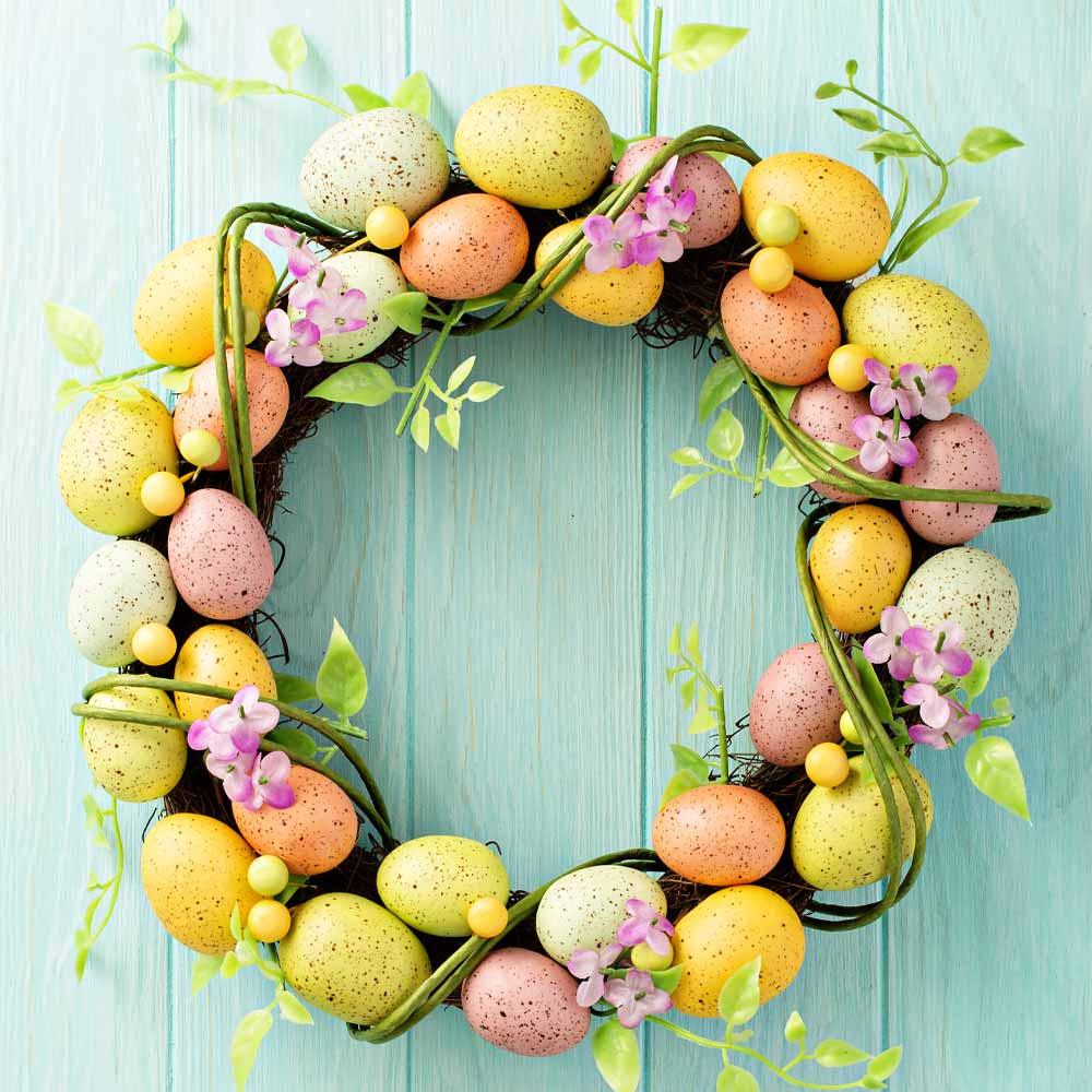 Wreath with Colorful Eggs for Easter