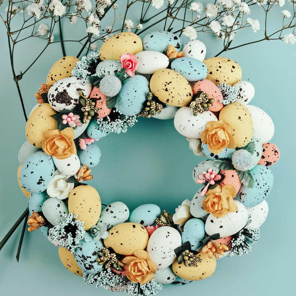 Easter Wreath with Colorful Eggs