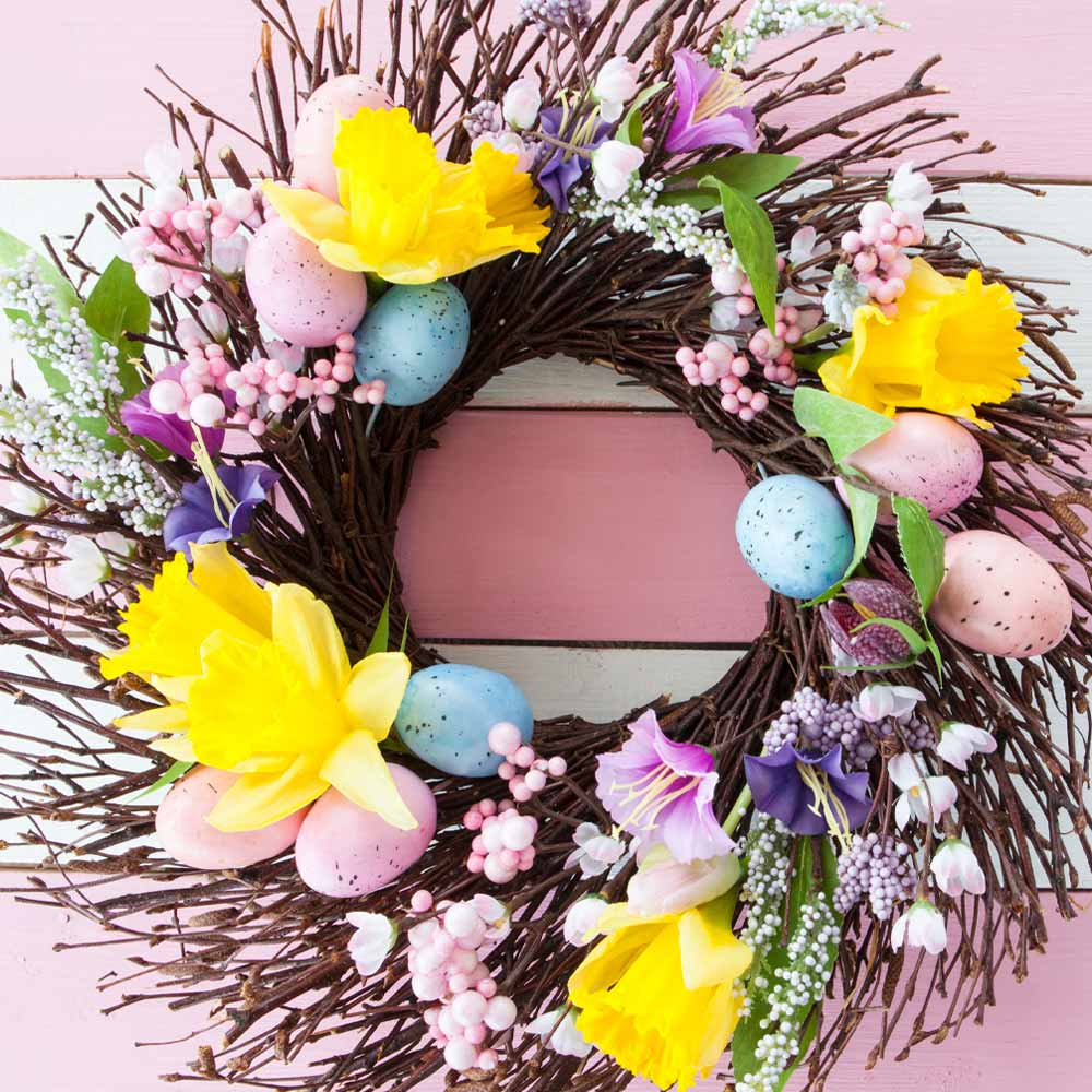 Easter Wreath with Spring Flowers