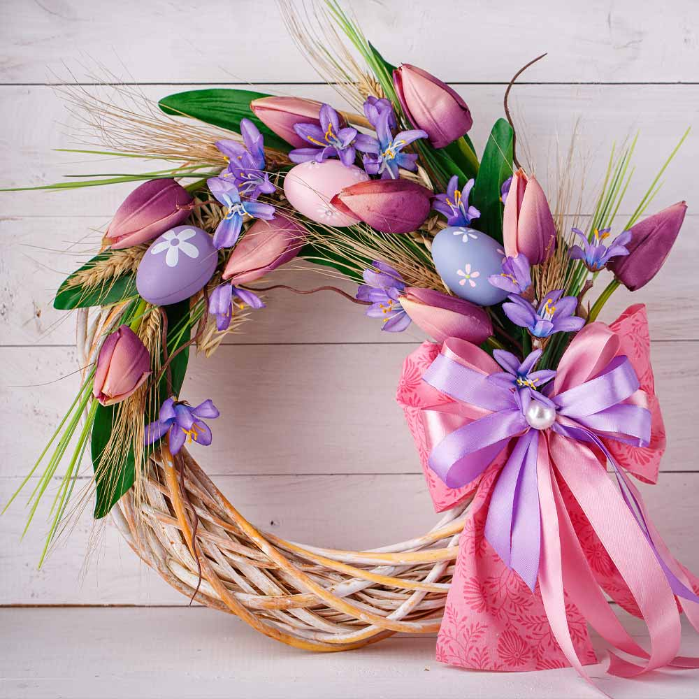 Beautiful Easter Wreath with Tulips