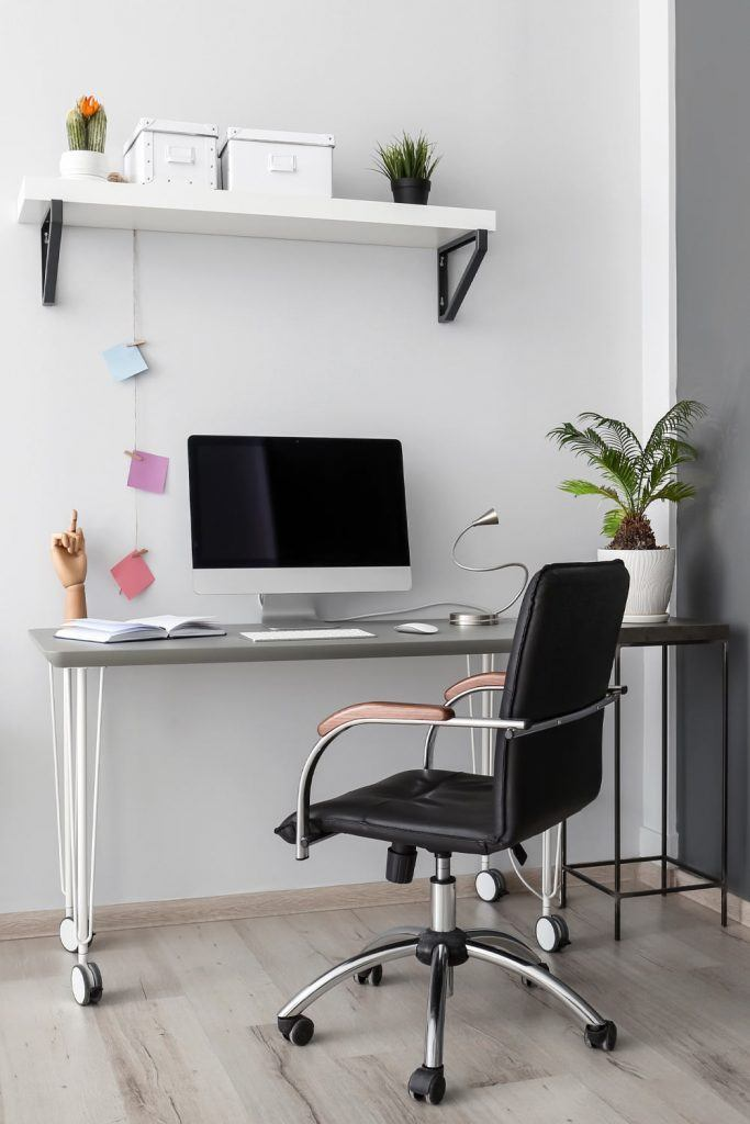 Study Room with White Walls
