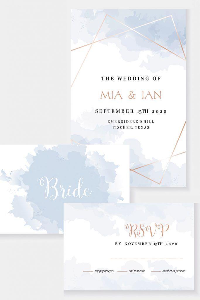 Sky Blue Wedding Invitation Idea