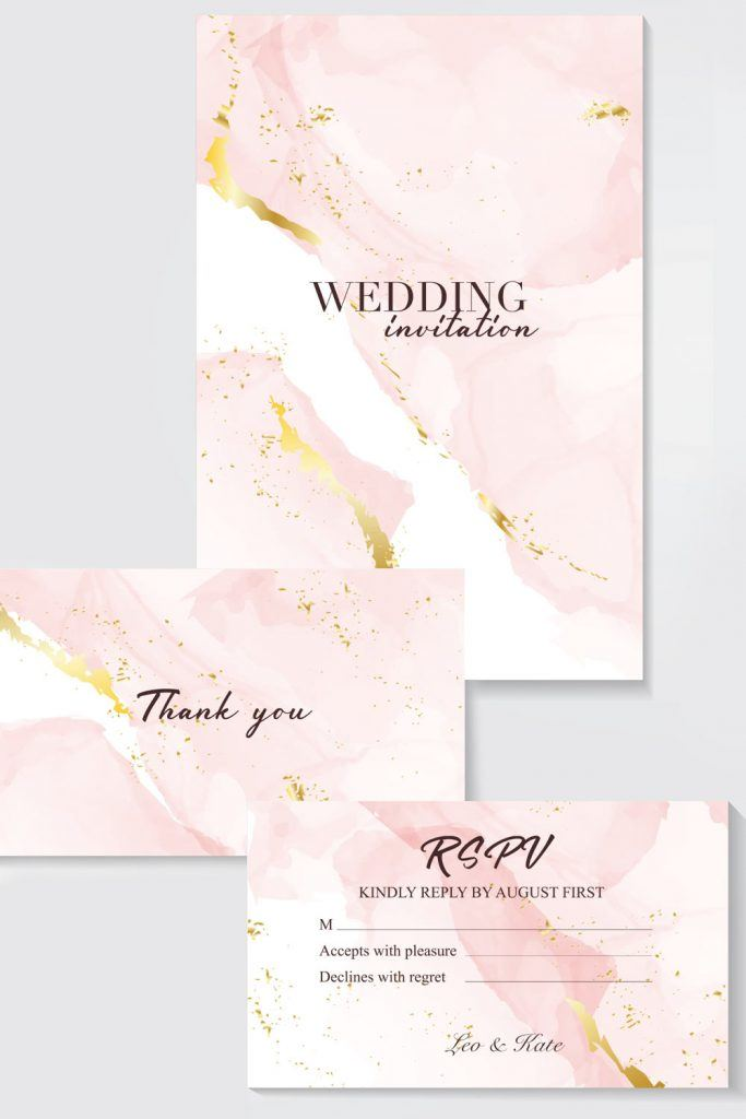 Marble Pink Wedding Invitation Design