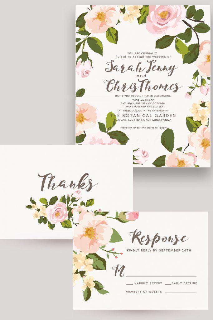 Wedding Invitation with Flowers