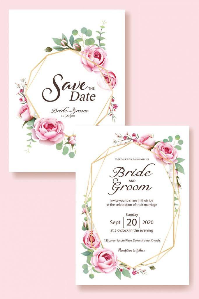 Wedding Invitation Design with Roses