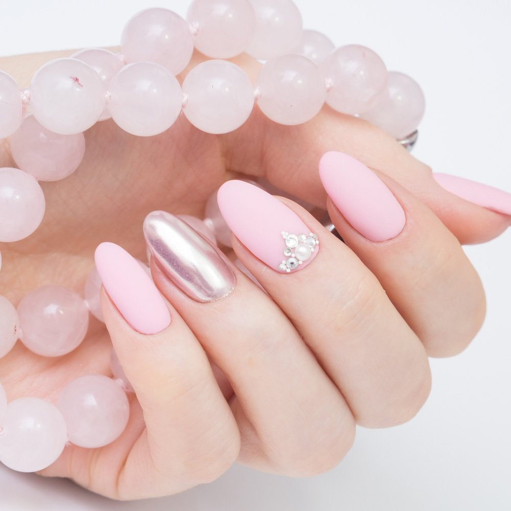 Pink Matte Prom Nails