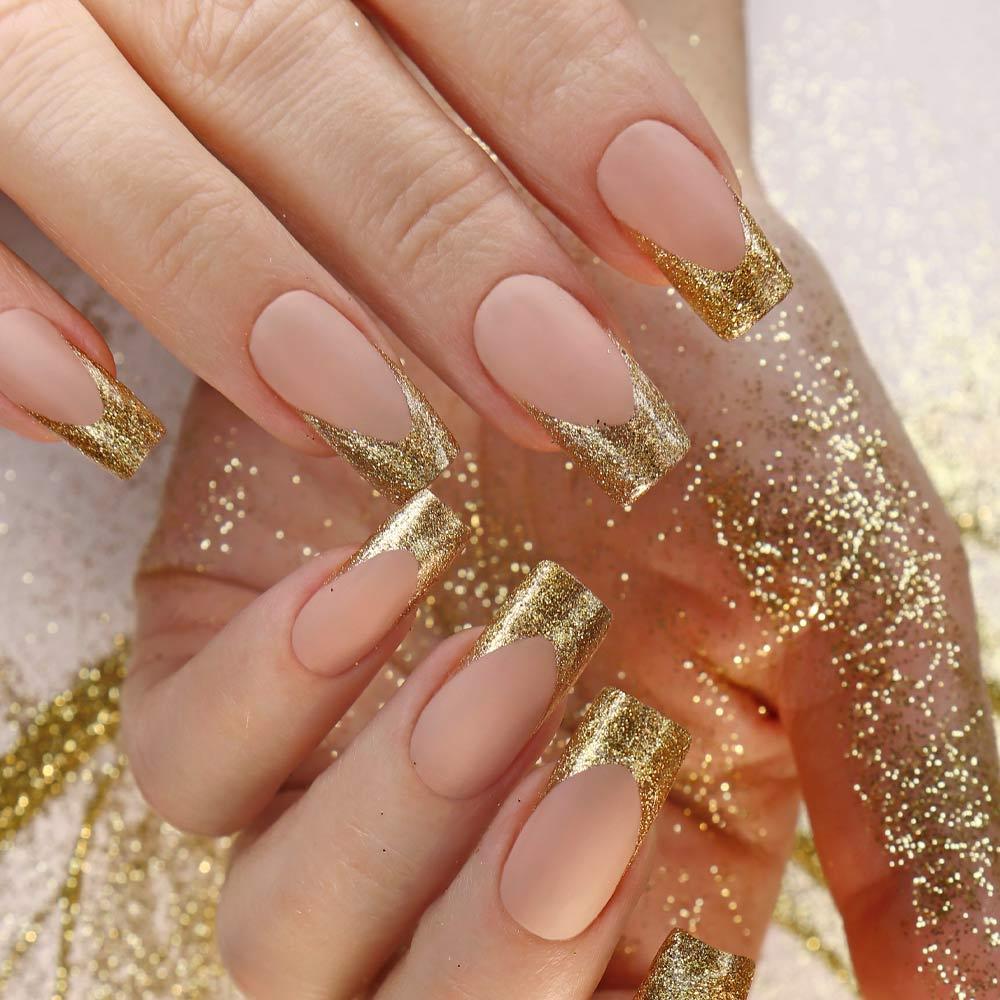 Gold Glitter French Maniqure Design