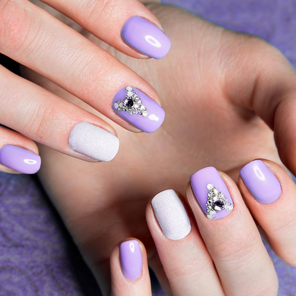 Purple and White Nails with Rhinestones