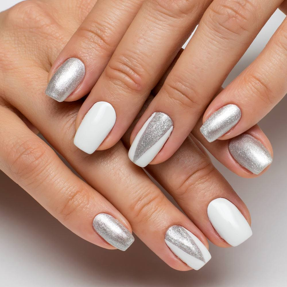 Silver Glitter Prom Nails