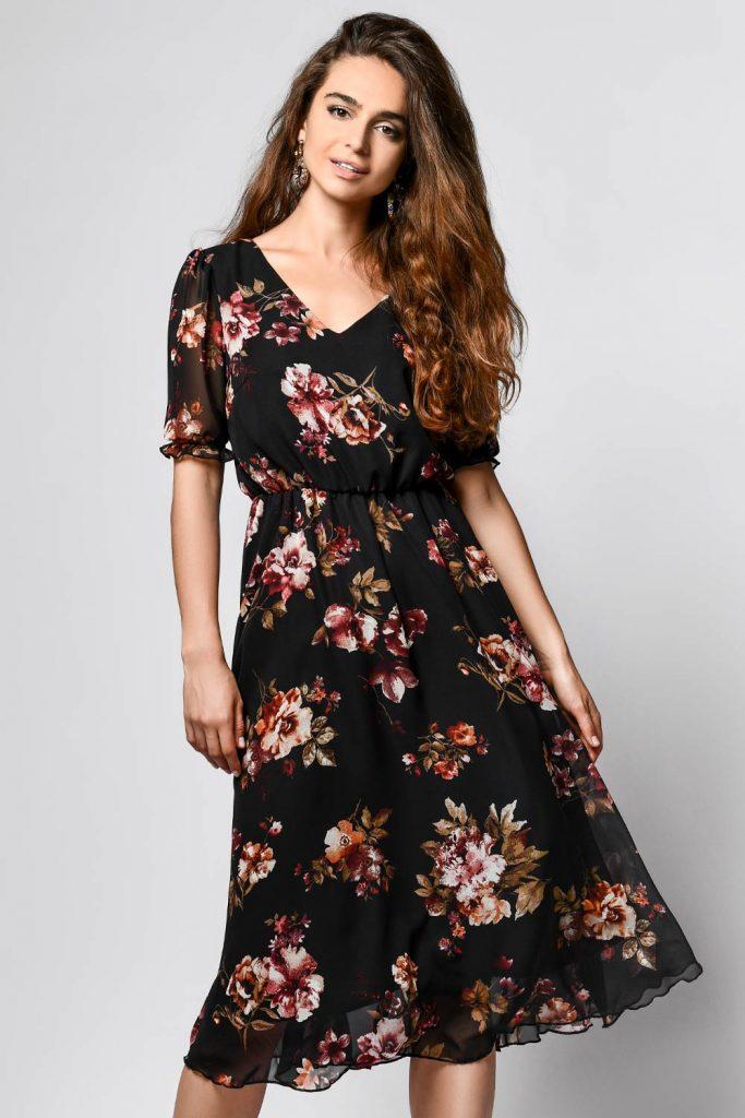 Black Mid Length Floral Dress