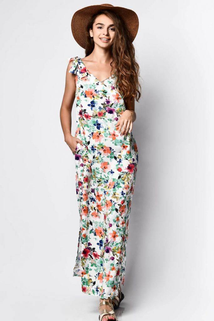 Floral White Long Dress