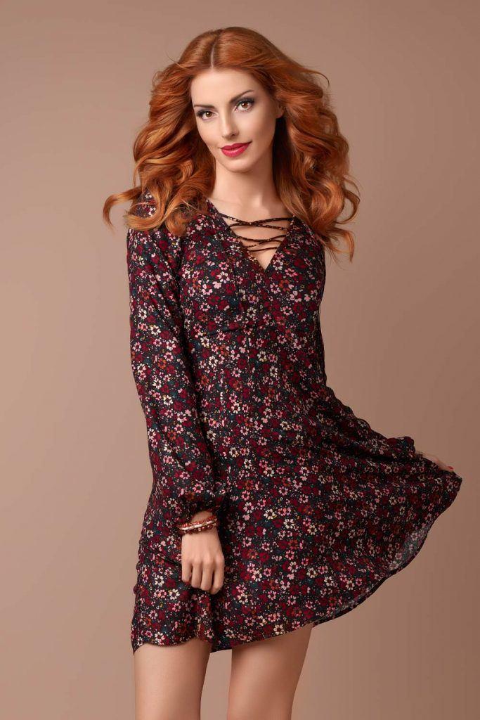 Short Burgundy Floral Dress