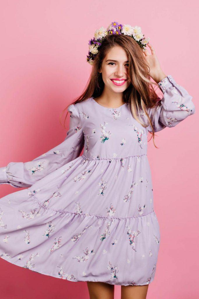 Purple Long Sleeved Floral Dress
