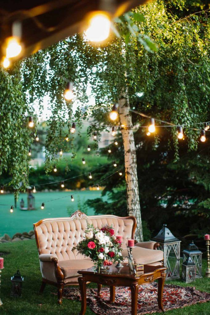 Beautiful Garden Place with Garlands