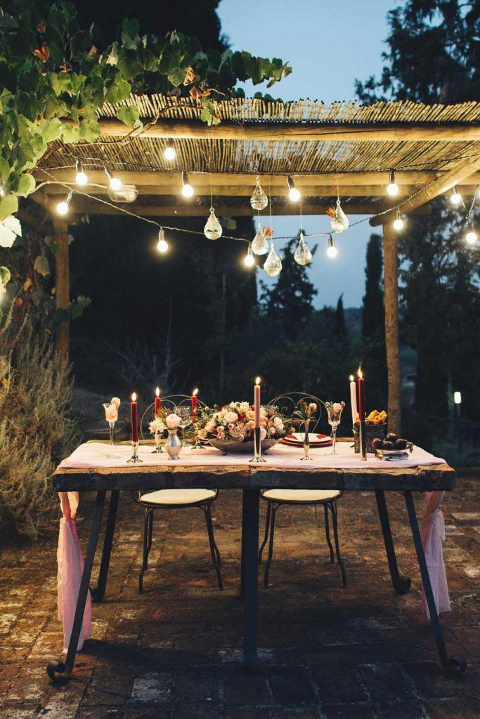 Picnic Table Decoration with Garlands