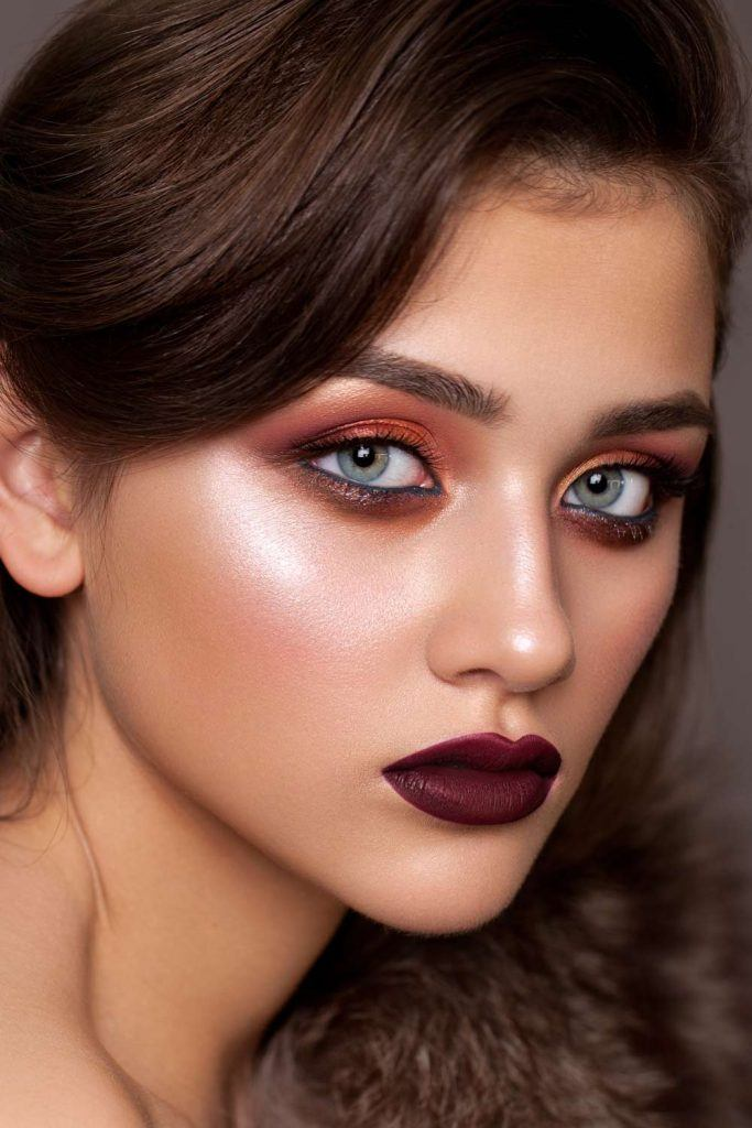 Burgundy Makeup with Dark Lips