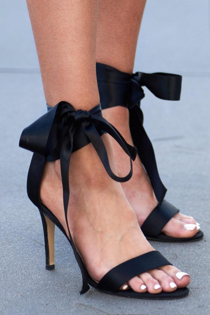 Black Prom High Heels with Bows