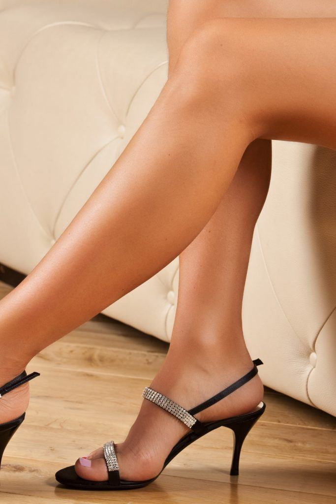 Black Prom Sandals with Rhinestones