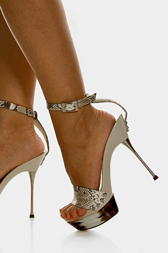 White High Heels with Animal Print
