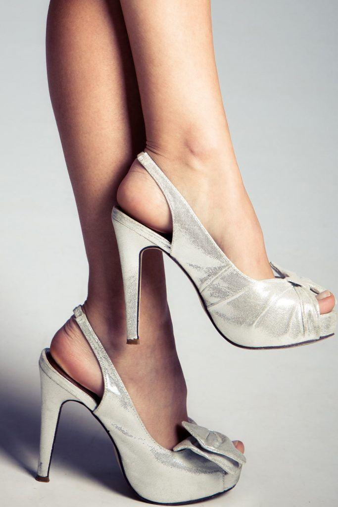 Open Toe Silver Heels