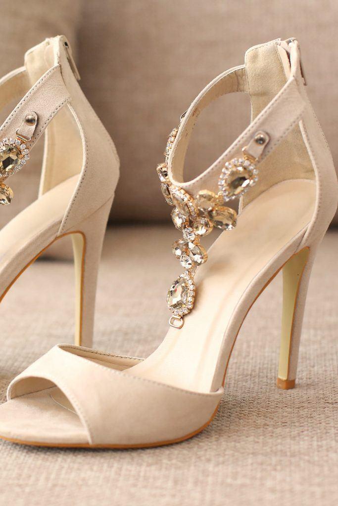 White High Heels with Rhinestones
