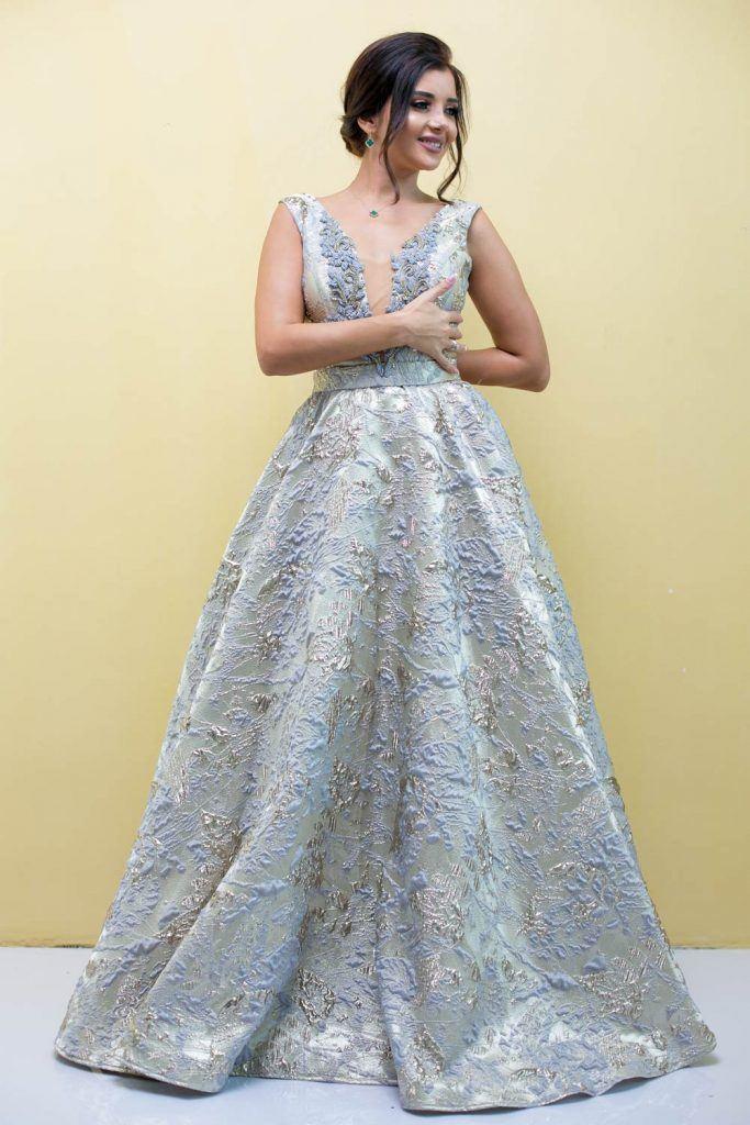 Long Prom Silver Dress