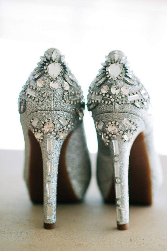 Beautiful Prom Silver Heels with Rhinestones