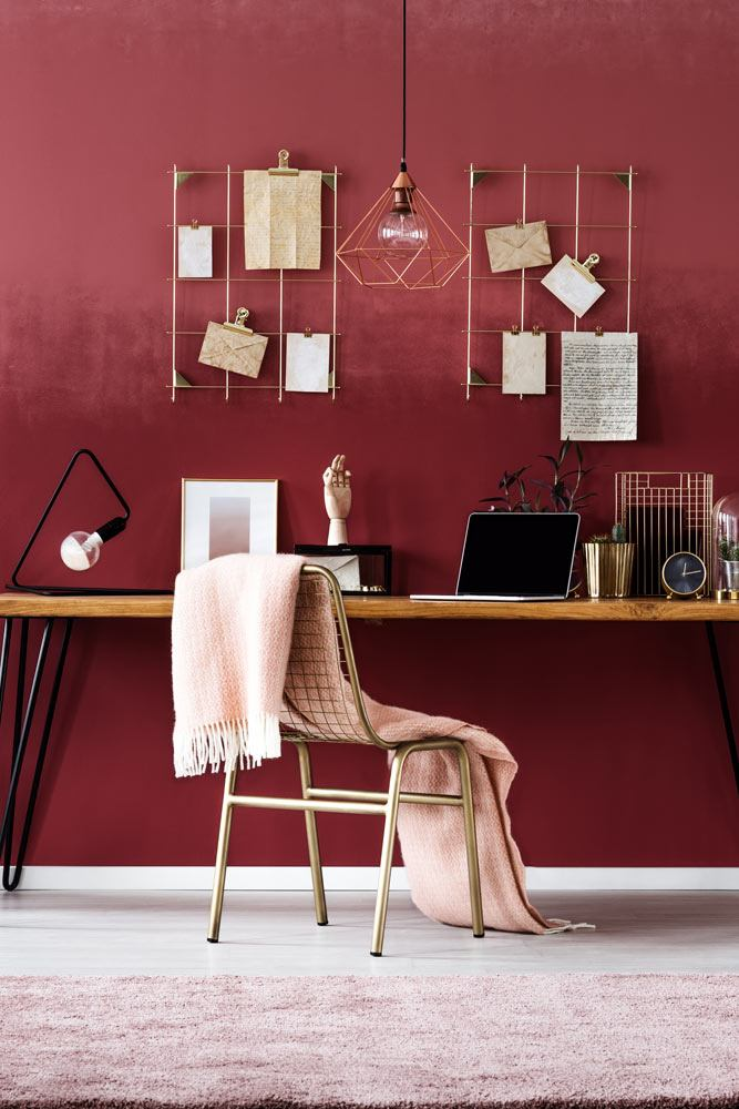 Burgundy Colored Home Office