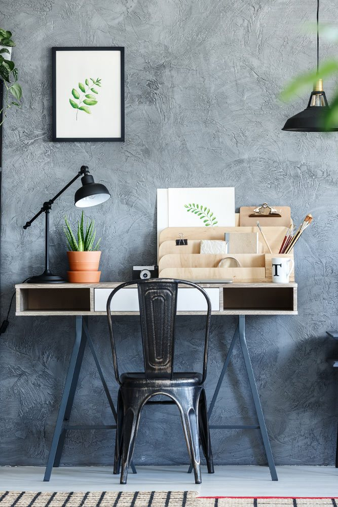 Home Office with Wooden Table
