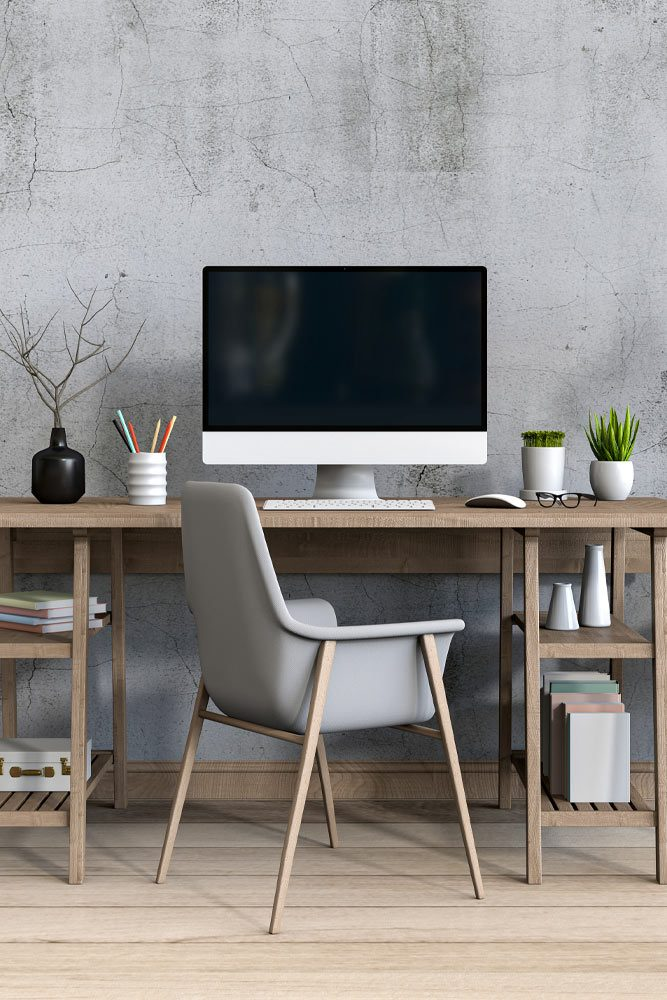 Grey Wall Home Office