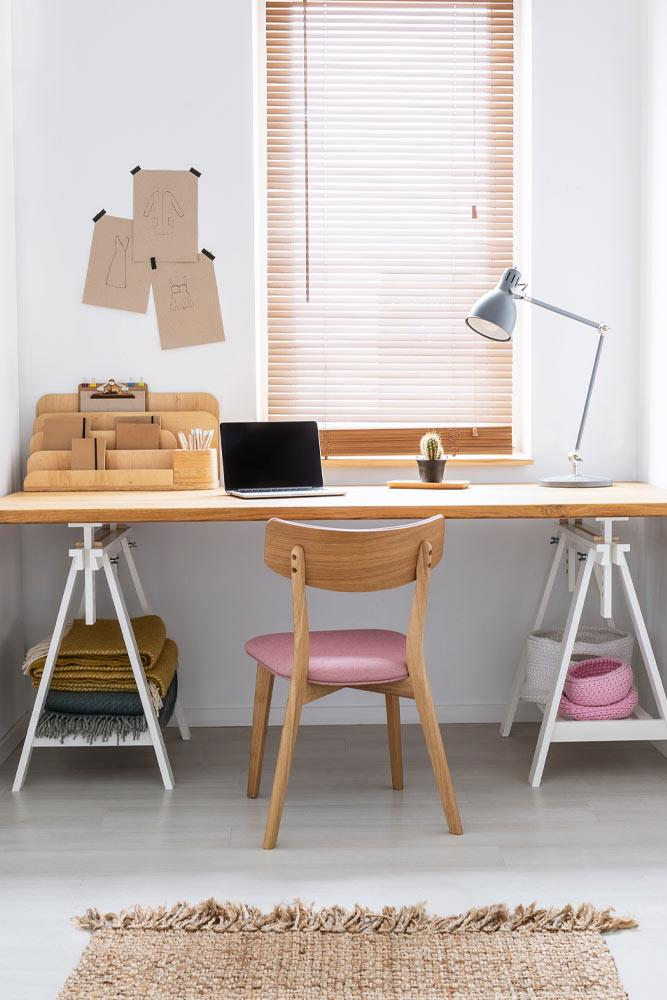 Home Office with Wooden Accent