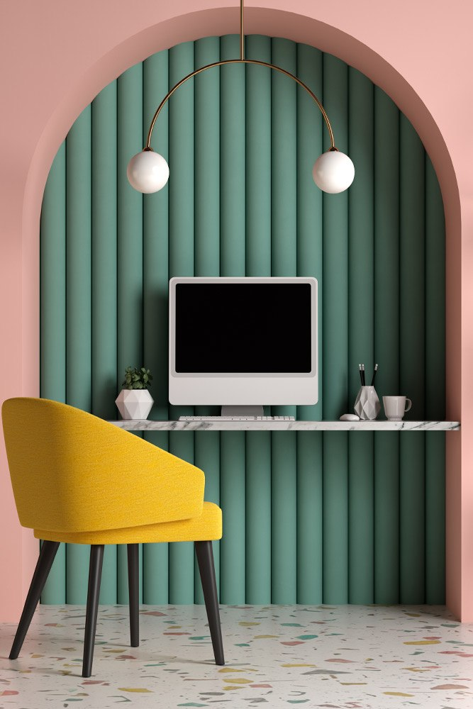 Pastel Colored Home Office Place