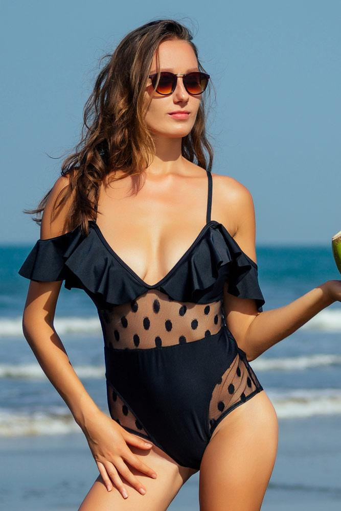 Black Ruffled One Piece Swimsuit